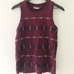 Madewell | Embroidered Cotton Tank Top Maroon